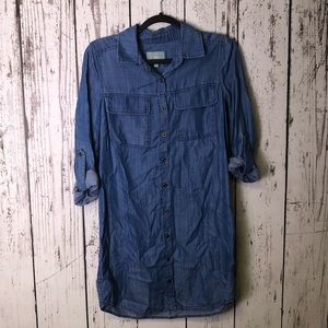 SKIES ARE BLUE Chambray Shirt Dress Button Down